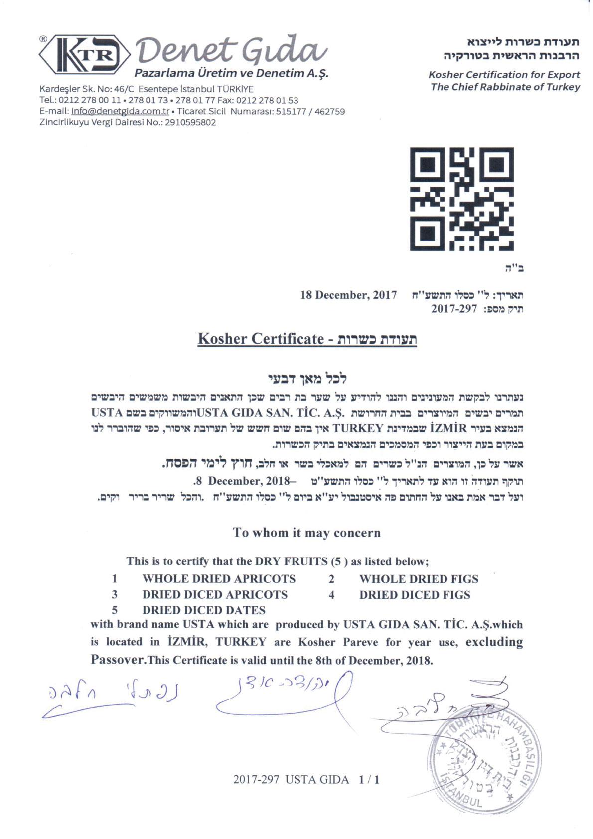 Kosher Certificate - Usta Food Industry Agricultural